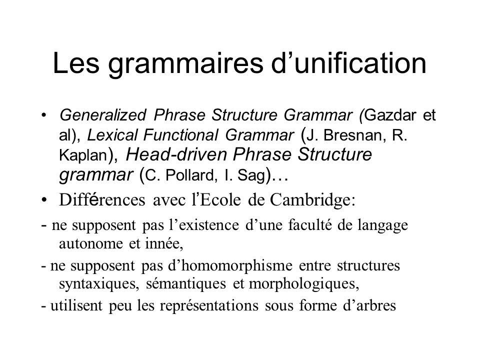 Les grammaires d'unification