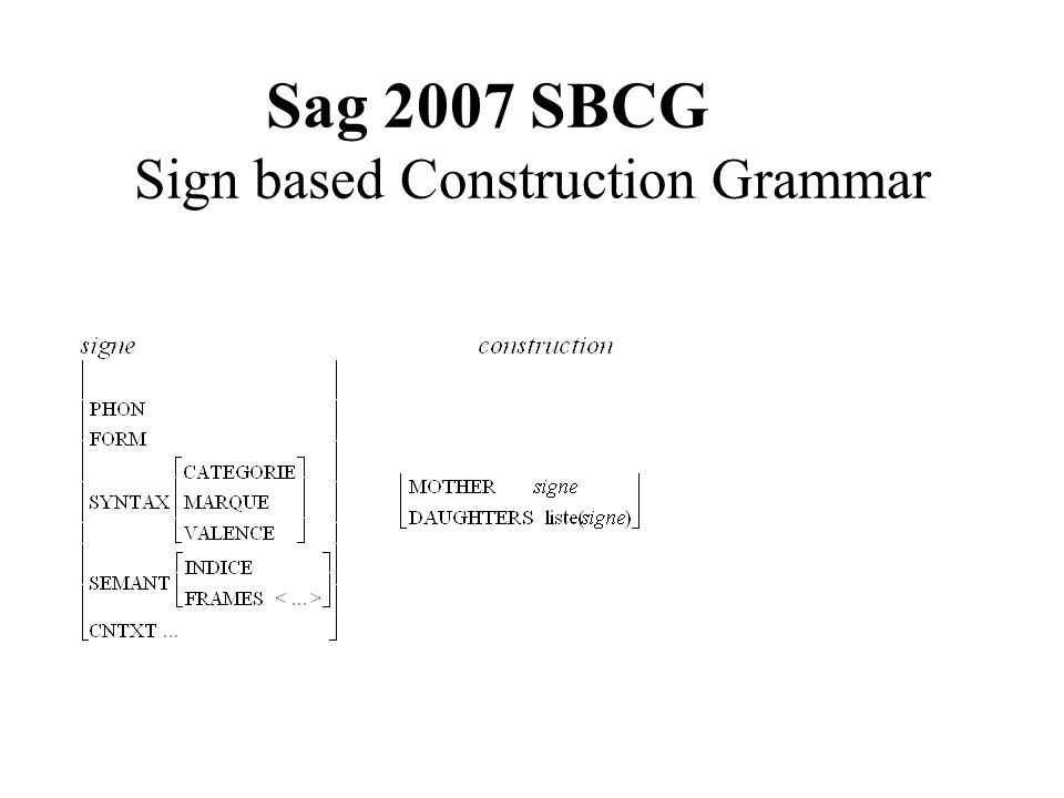 Sag 2007 SBCG Sign based Construction Grammar