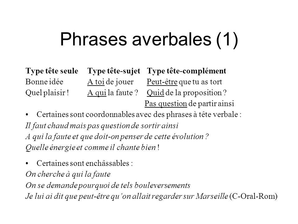Phrases averbales (1) Type tête seule Type tête-sujet Type tête-complément. Bonne idée A toi de jouer Peut-être que tu as tort.