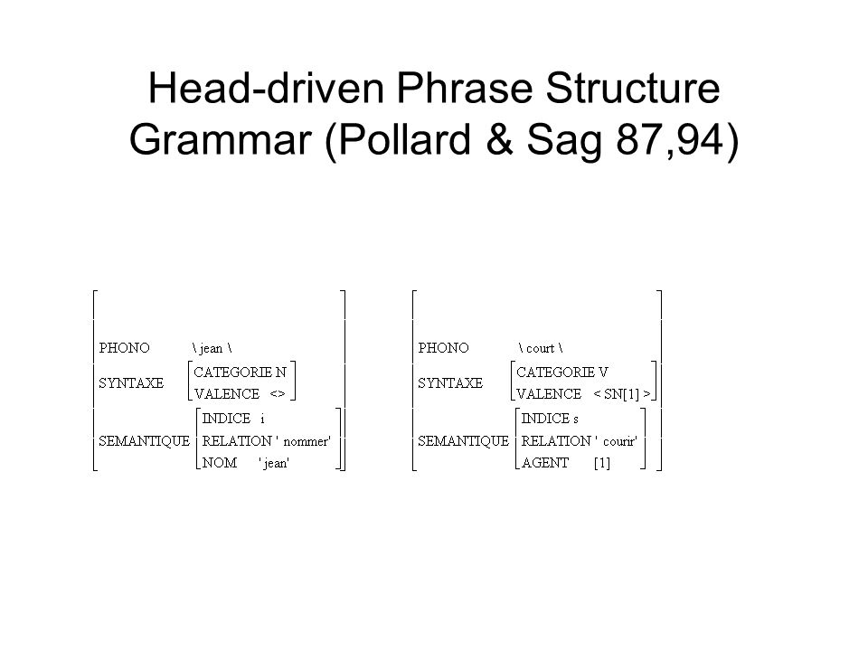 Head-driven Phrase Structure Grammar (Pollard & Sag 87,94)