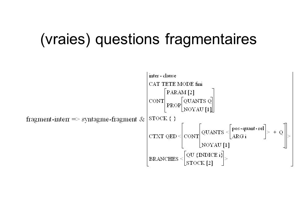 (vraies) questions fragmentaires