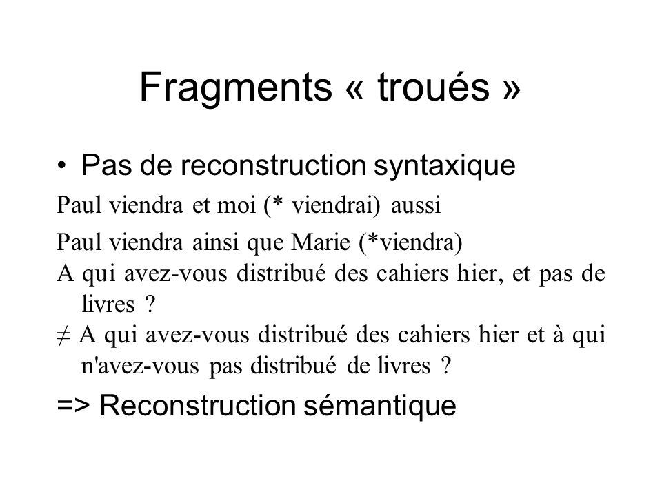 Fragments « troués » Pas de reconstruction syntaxique