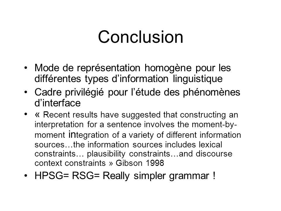 Conclusion Mode de représentation homogène pour les différentes types d'information linguistique.