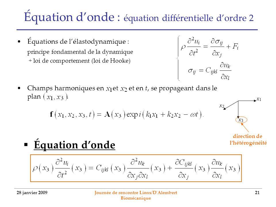 Équation d'onde : équation différentielle d'ordre 2