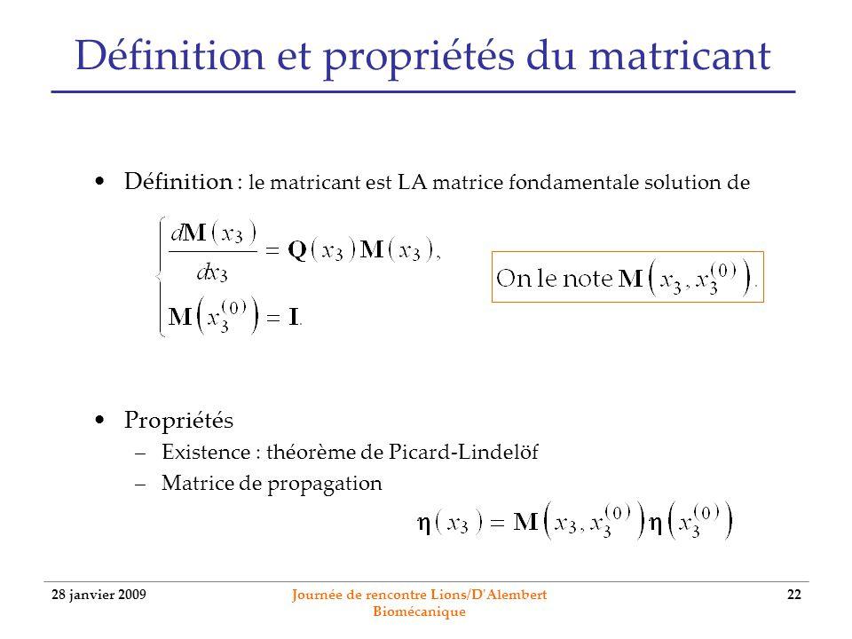 Définition et propriétés du matricant