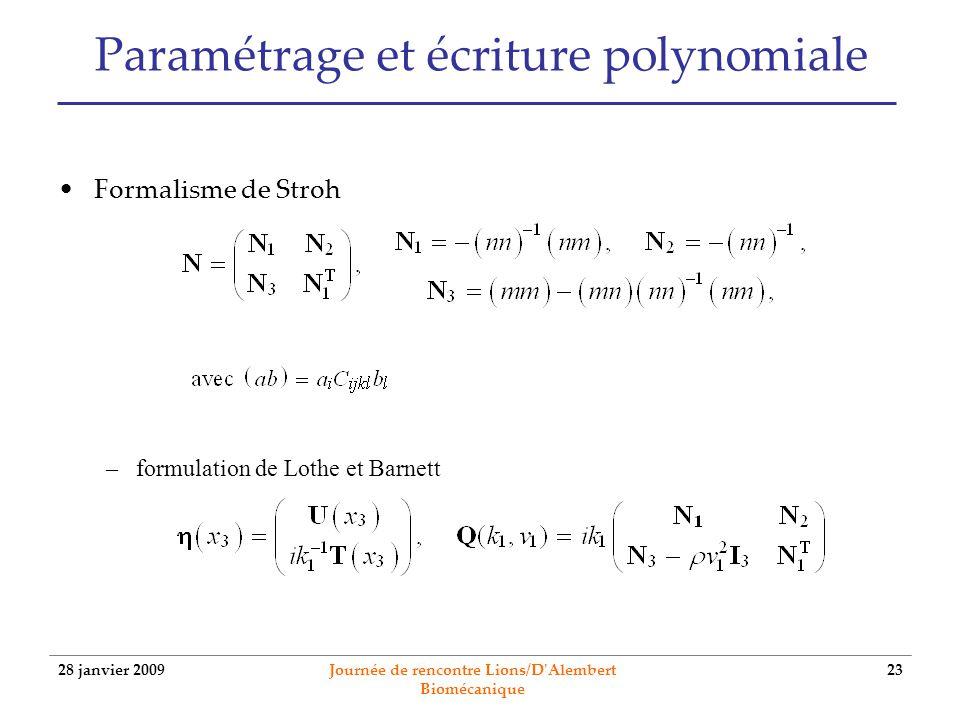 Paramétrage et écriture polynomiale