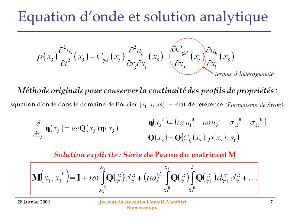 Equation d'onde et solution analytique