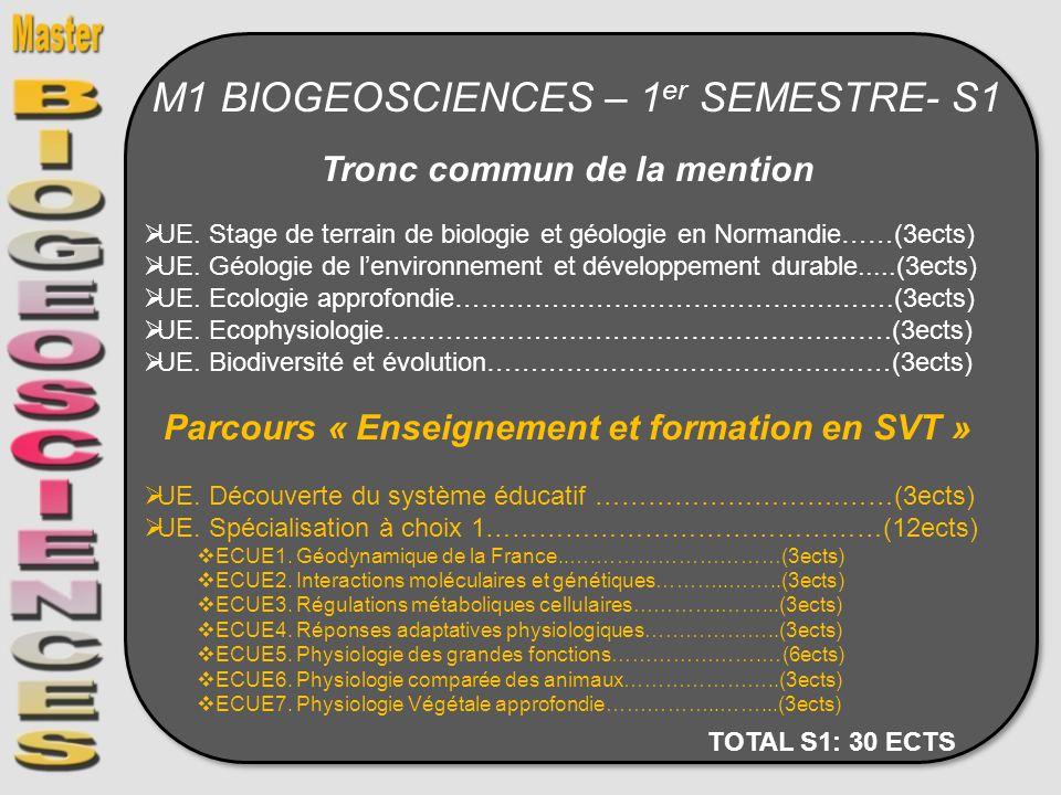 M1 BIOGEOSCIENCES – 1er SEMESTRE- S1