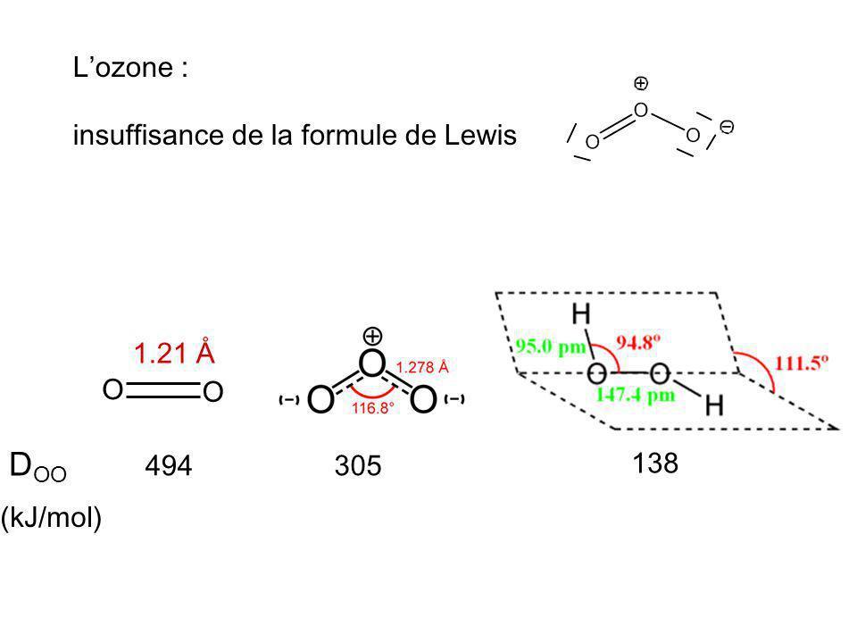 DOO L'ozone : insuffisance de la formule de Lewis 1.21 Å O O 494 305