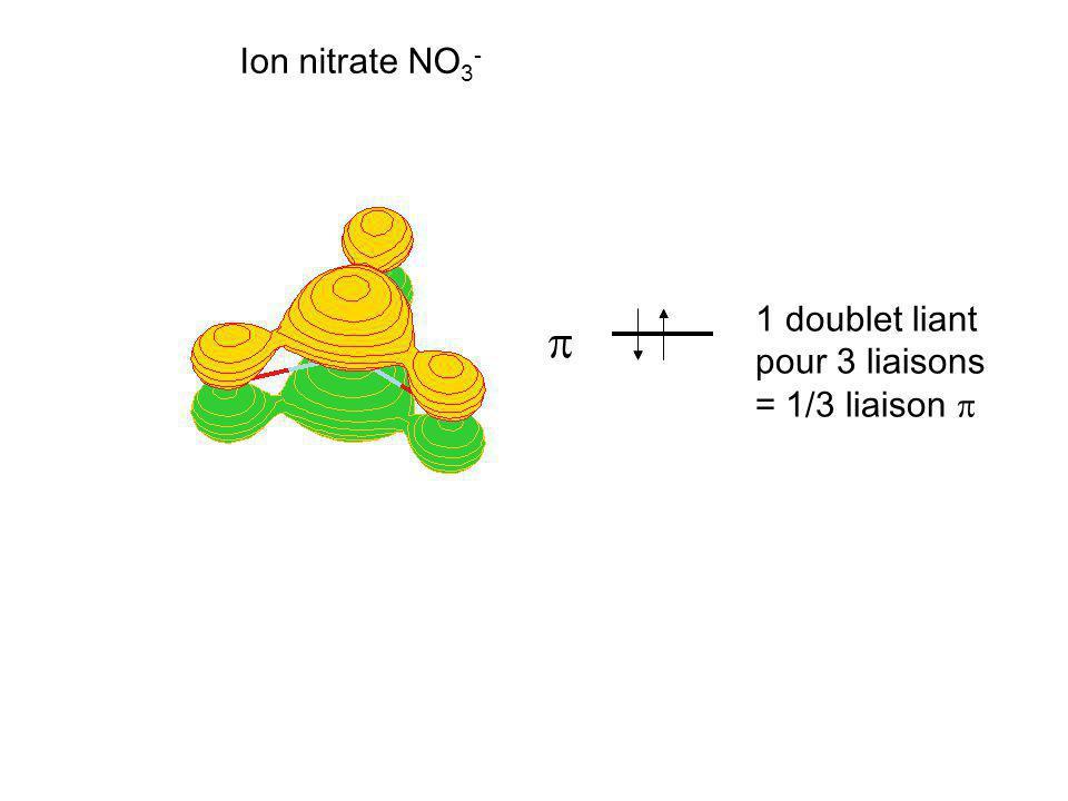 Ion nitrate NO3- 1 doublet liant pour 3 liaisons = 1/3 liaison p p