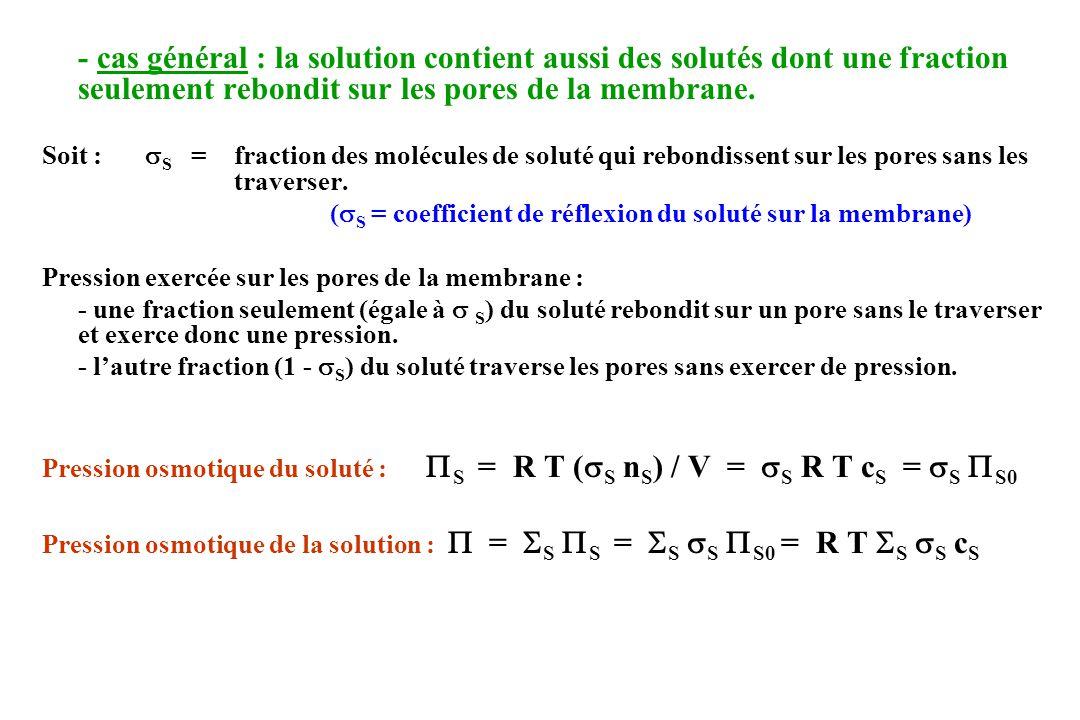 (S = coefficient de réflexion du soluté sur la membrane)