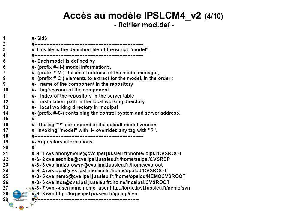 Accès au modèle IPSLCM4_v2 (4/10)