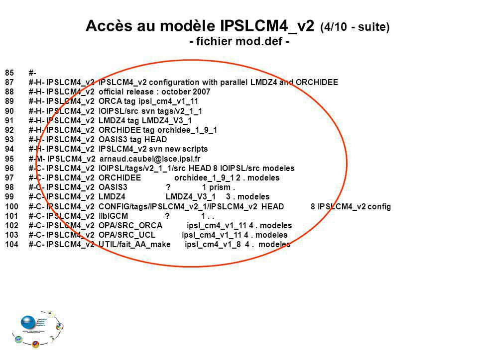 Accès au modèle IPSLCM4_v2 (4/10 - suite)