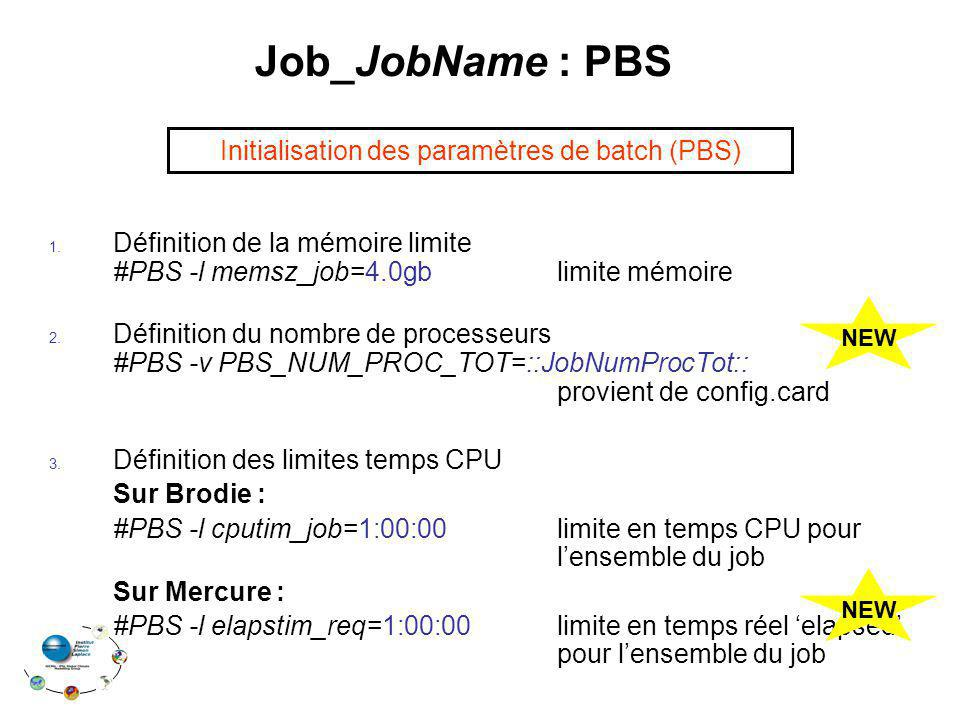 Job_JobName : PBS Initialisation des paramètres de batch (PBS)