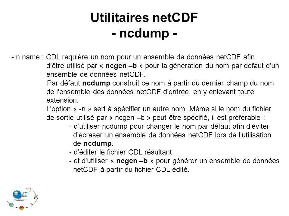 Utilitaires netCDF - ncdump -