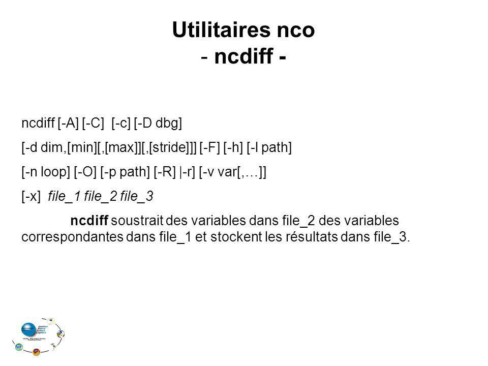 Utilitaires nco ncdiff -