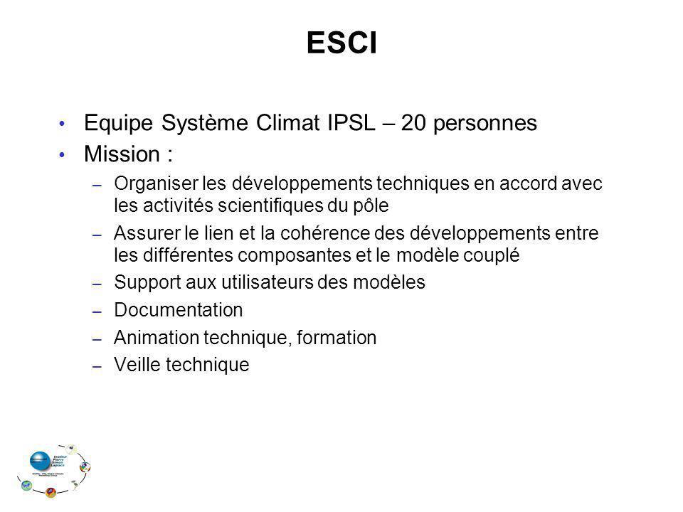 ESCI Equipe Système Climat IPSL – 20 personnes Mission :
