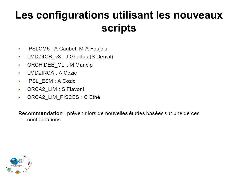 Les configurations utilisant les nouveaux scripts