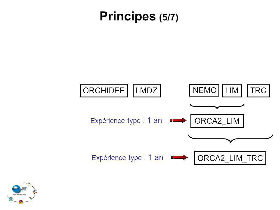 Principes (5/7) ORCHIDEE LMDZ NEMO LIM TRC ORCA2_LIM ORCA2_LIM_TRC