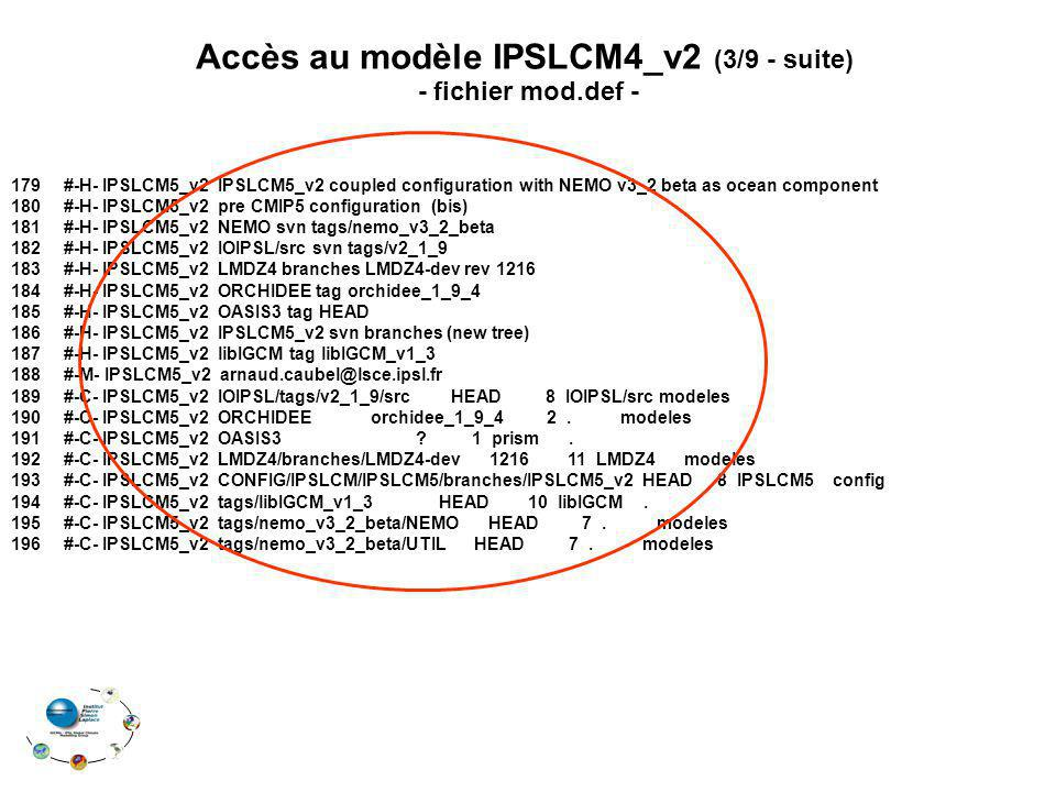 Accès au modèle IPSLCM4_v2 (3/9 - suite)