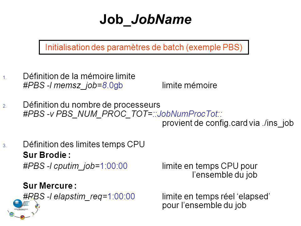 Job_JobName Initialisation des paramètres de batch (exemple PBS)