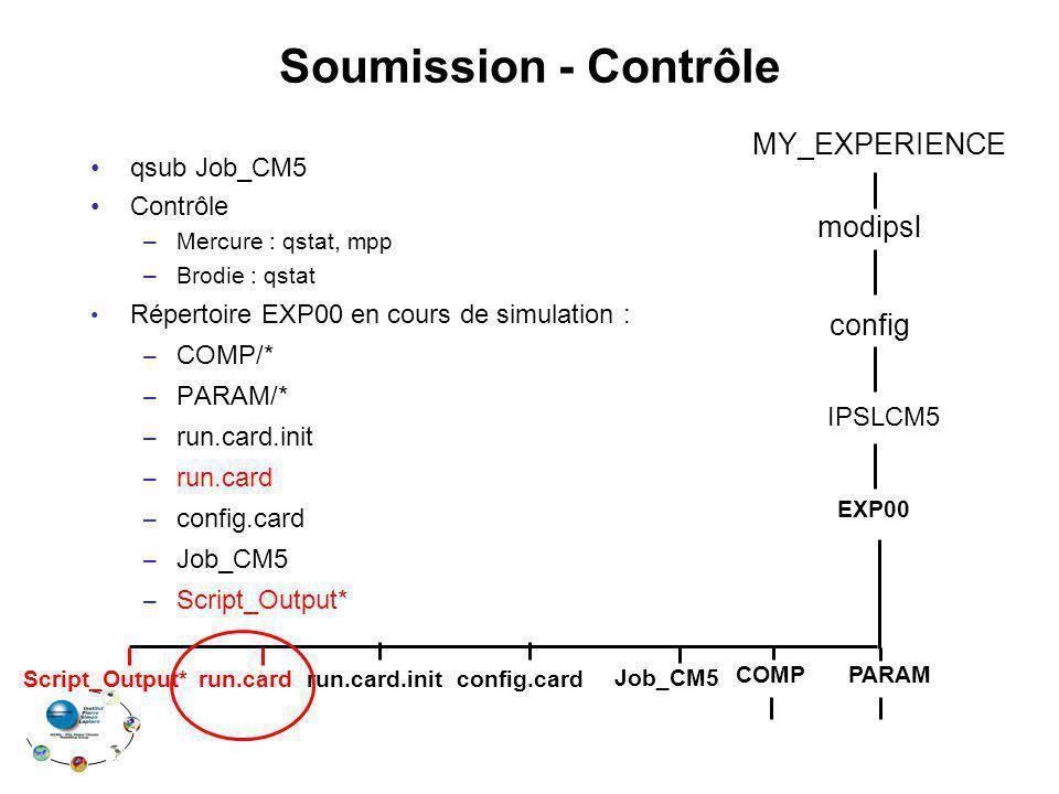 Soumission - Contrôle MY_EXPERIENCE modipsl config qsub Job_CM5