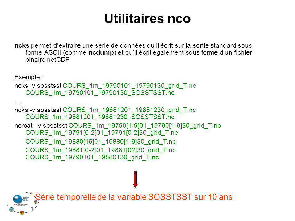 Utilitaires nco Série temporelle de la variable SOSSTSST sur 10 ans