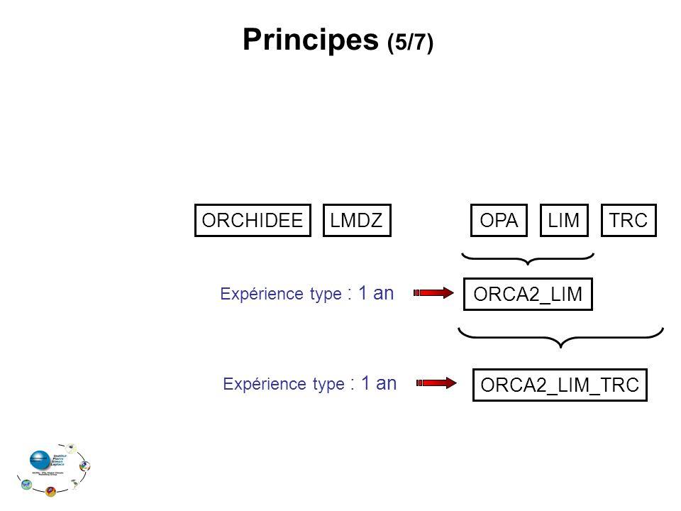 Principes (5/7) ORCHIDEE LMDZ OPA LIM TRC ORCA2_LIM ORCA2_LIM_TRC