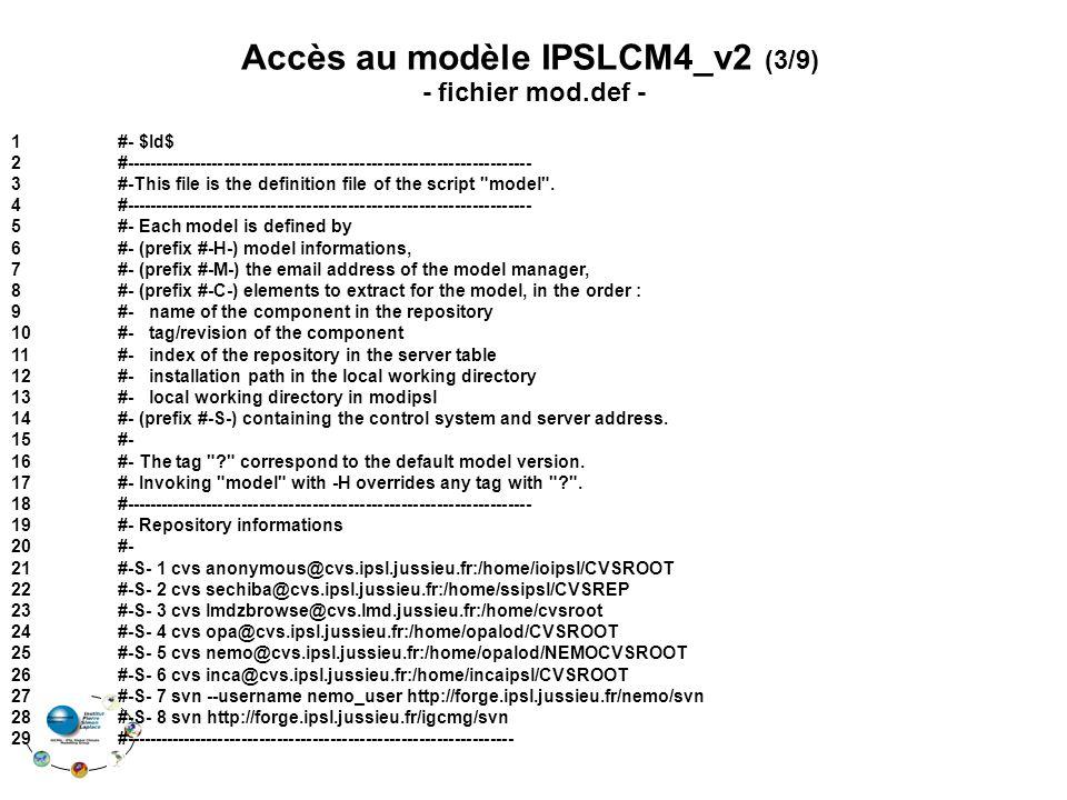 Accès au modèle IPSLCM4_v2 (3/9)
