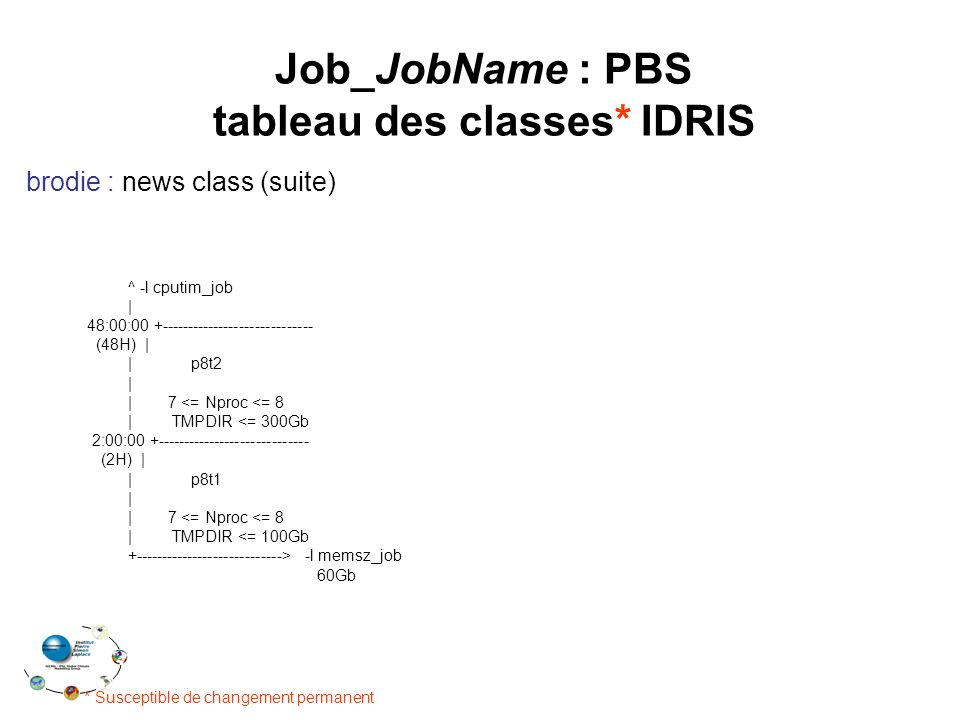 tableau des classes* IDRIS