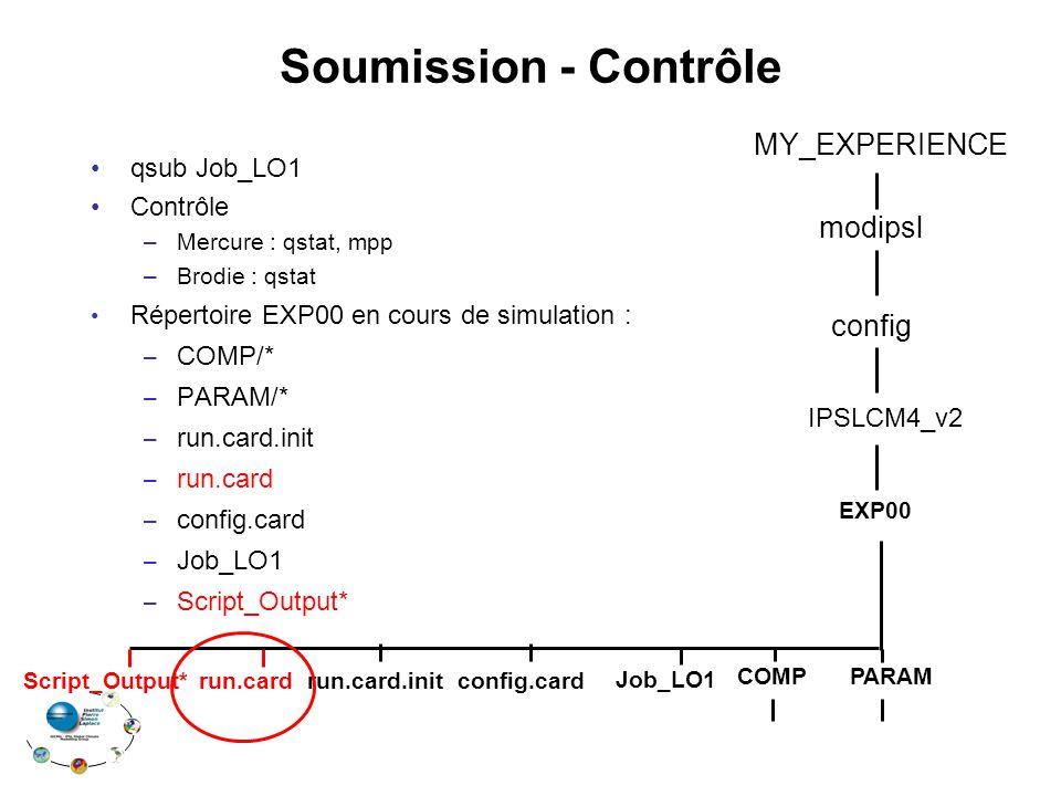 Soumission - Contrôle MY_EXPERIENCE modipsl config qsub Job_LO1