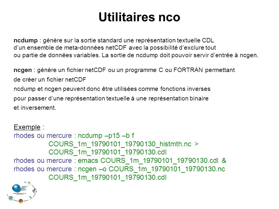 Utilitaires nco Exemple :