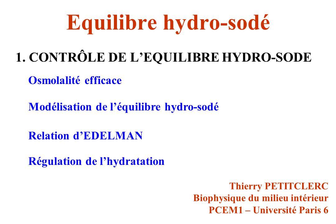 Equilibre hydro-sodé 1. CONTRÔLE DE L'EQUILIBRE HYDRO-SODE