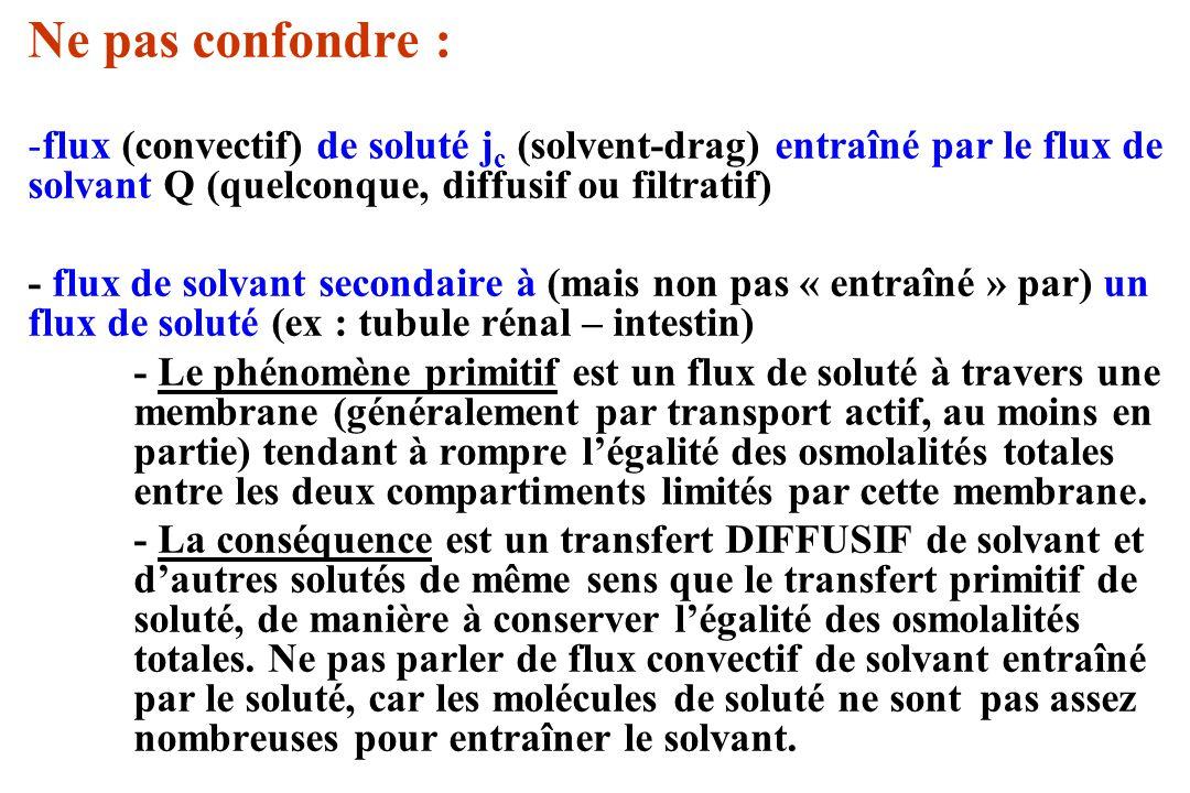 Ne pas confondre : flux (convectif) de soluté jc (solvent-drag) entraîné par le flux de solvant Q (quelconque, diffusif ou filtratif)
