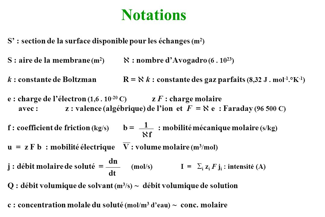Notations S' : section de la surface disponible pour les échanges (m2)