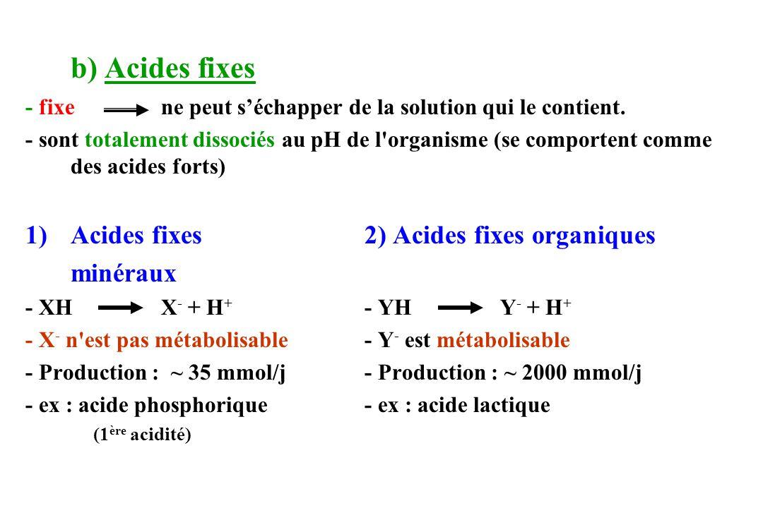 Acides fixes 2) Acides fixes organiques minéraux
