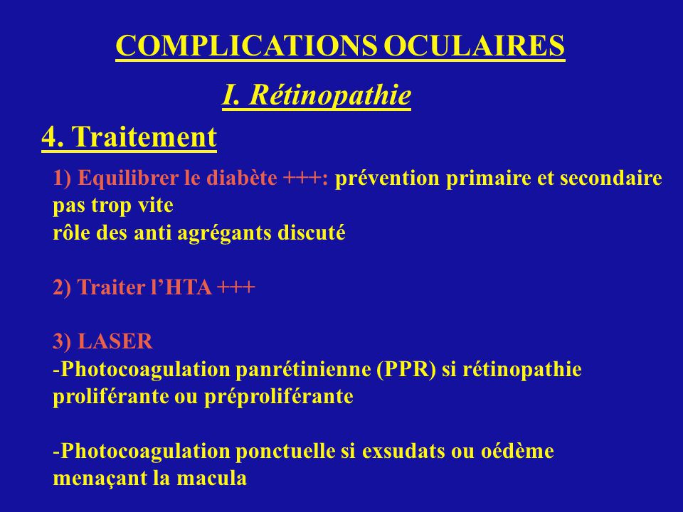 COMPLICATIONS OCULAIRES