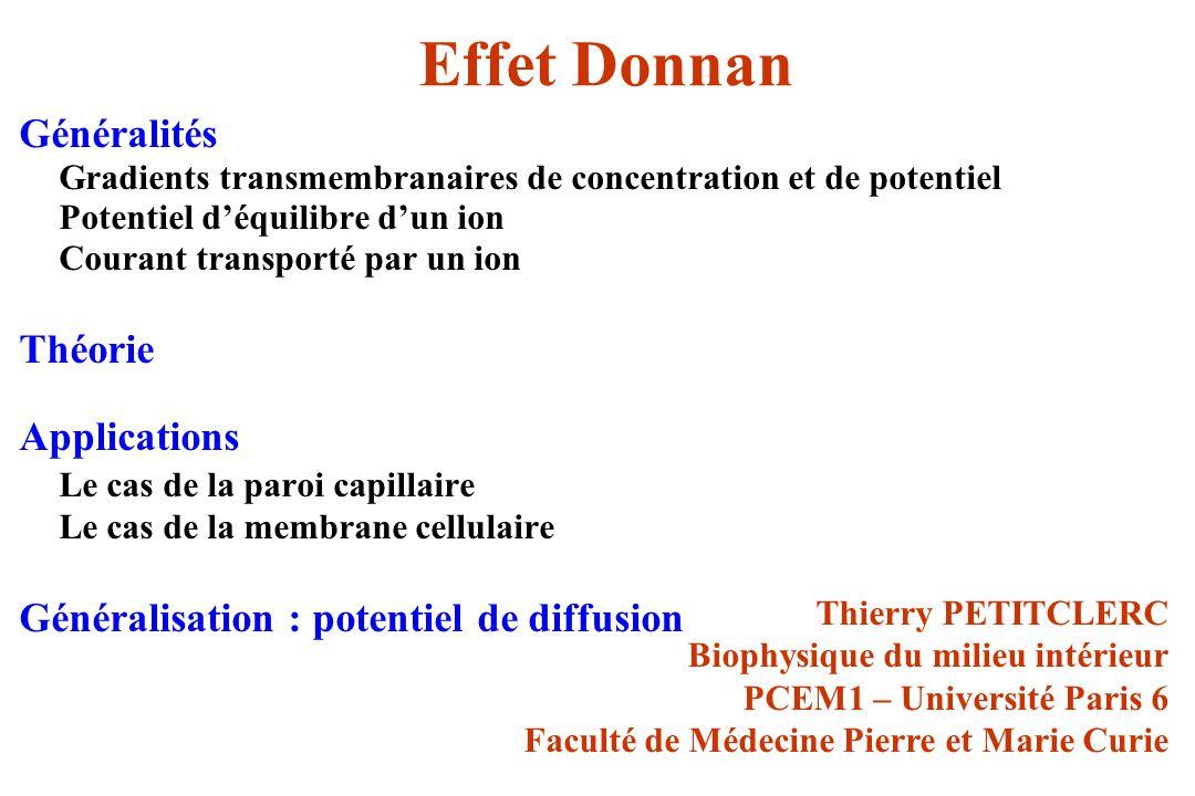 Effet Donnan Généralités Théorie Applications