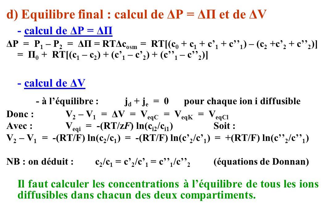 - à l'équilibre : jd + je = 0 pour chaque ion i diffusible