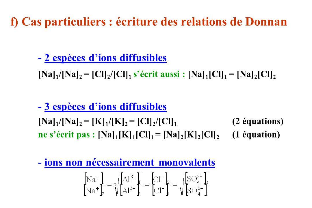 f) Cas particuliers : écriture des relations de Donnan