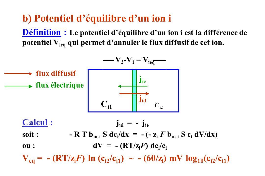 b) Potentiel d'équilibre d'un ion i