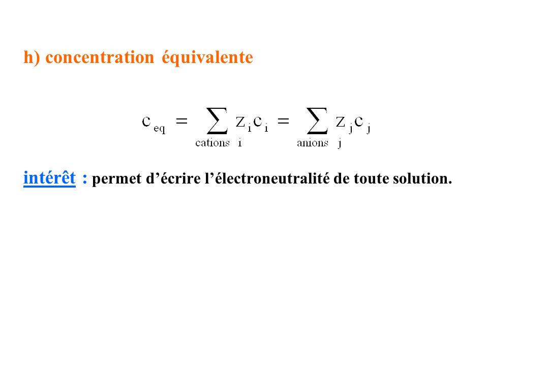 h) concentration équivalente