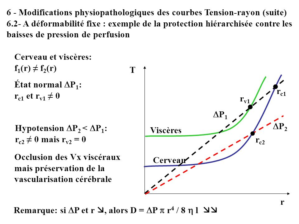 6 - Modifications physiopathologiques des courbes Tension-rayon (suite)