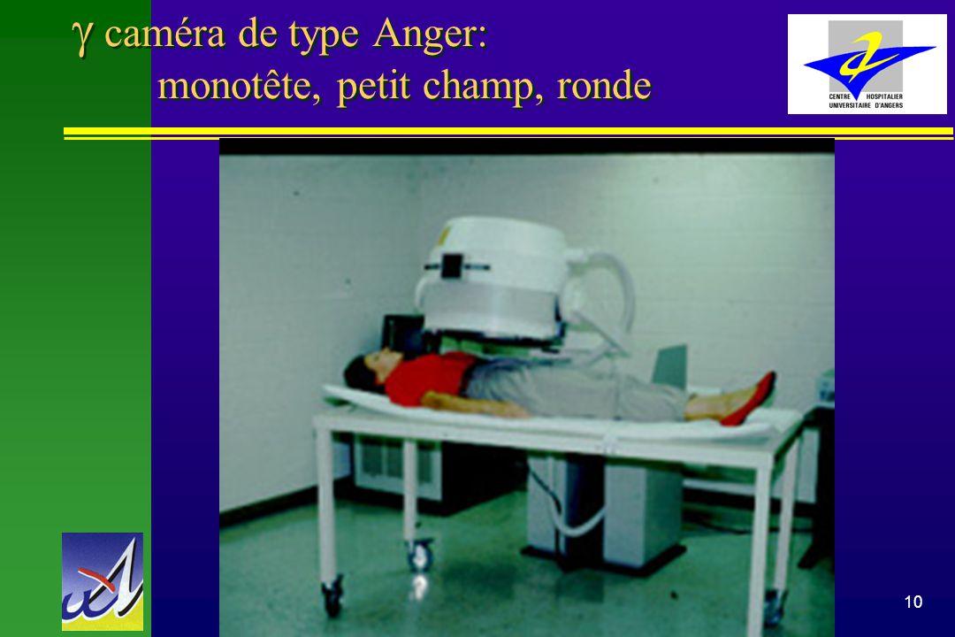 g caméra de type Anger: monotête, petit champ, ronde