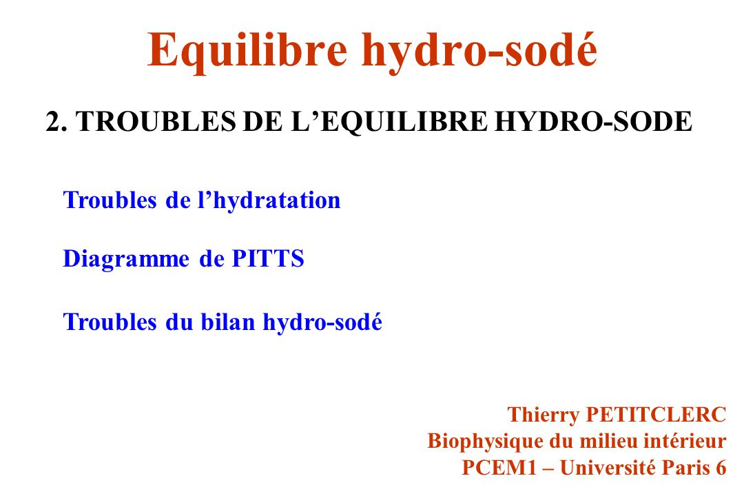 Equilibre hydro-sodé 2. TROUBLES DE L'EQUILIBRE HYDRO-SODE