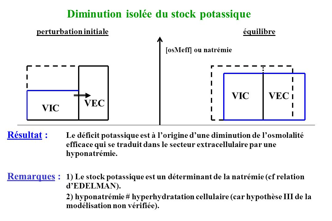 Diminution isolée du stock potassique