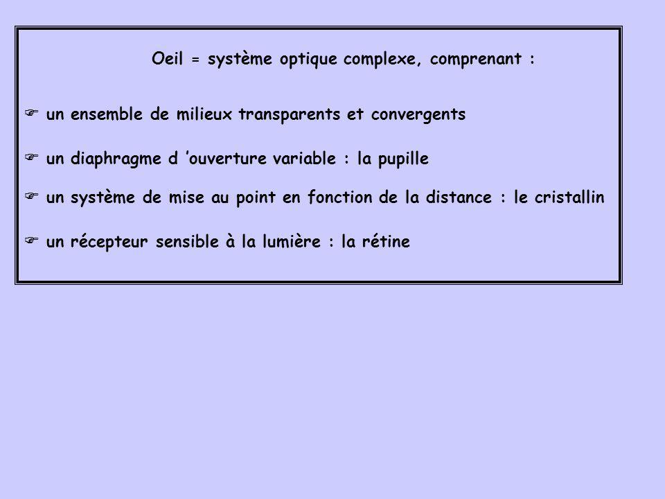 Oeil = système optique complexe, comprenant :