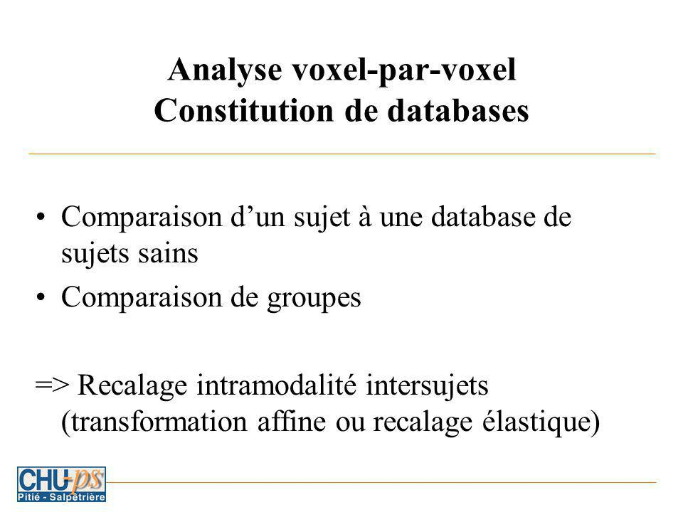 Analyse voxel-par-voxel Constitution de databases