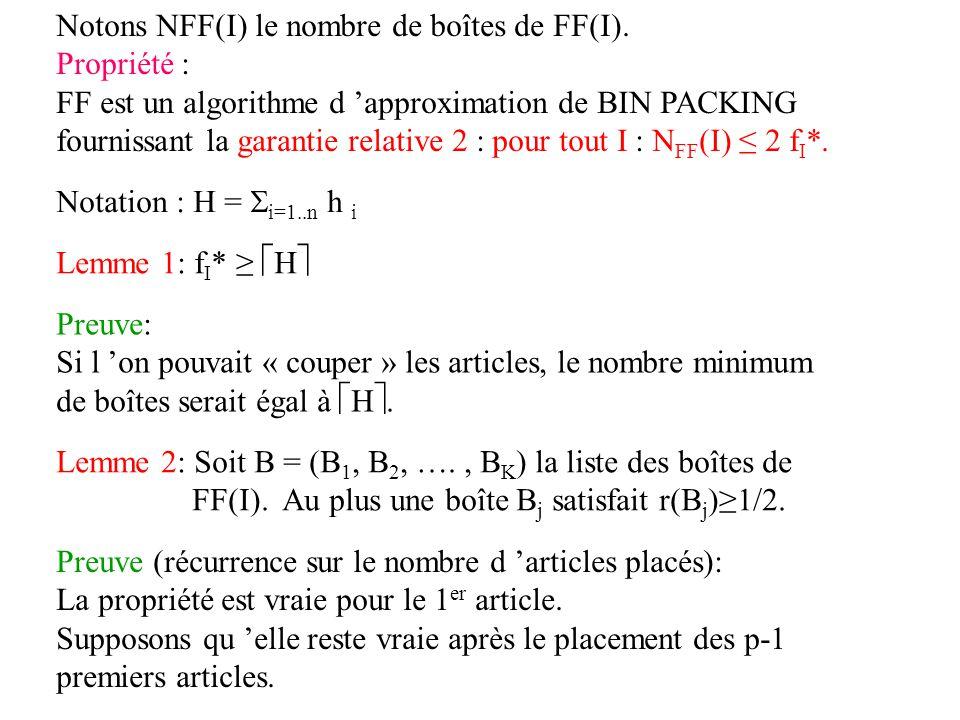 Notons NFF(I) le nombre de boîtes de FF(I).