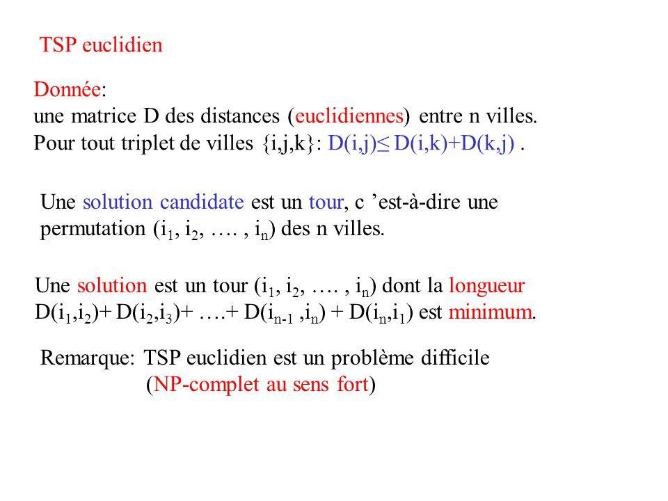 TSP euclidien Donnée: une matrice D des distances (euclidiennes) entre n villes. Pour tout triplet de villes {i,j,k}: D(i,j)≤ D(i,k)+D(k,j) .